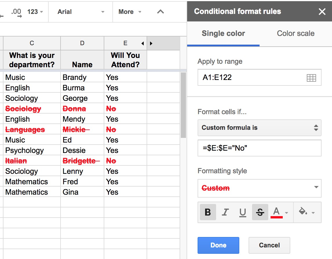 Mini Byte: Conditional Formatting in Google Sheets | Division of ...