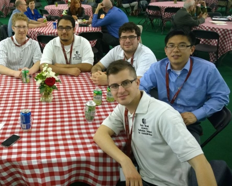 The EPS team at the 2014 SUNY Conference on Instructional Technology. From left to right: Jason Kanaris, Jonathan Rodriguez. Daniel Fourman, Raymond Chan and Nicholas Branzburg.