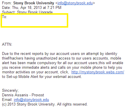 This is a screen shot of a phishing email attempt with no email address in the to field